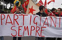 Roma 25 Aprile 2005  . Manifestazione per il 60° anniversario  della liberazione dal Nazifascismo da Porta San Paolo..Roma25 April 2005. Demonstration for the 60th anniversary of liberation from Nazi-fascism from Porta San Paolo .The banner reads:Partisans always