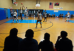 WATERBURY ,  CT-101219JS08- Fans watch a game between Holy Cross and Weaver schools during the second annual Stop the Violence Basketball Tournament held Saturday at the North End Rec Center in Waterbury. The tournament was started by former Sacred Heart High School basketball star Mustapha Heron. <br />  Jim Shannon Republican-American