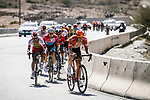 The peloton with Stijn Steels (BEL) Roompot-Charles, Darwin Atapuma (COL) Cofidis and race leader Alexey Lutsenko (KAZ) Astana Pro Team during Stage 5 of the 10th Tour of Oman 2019, running 152km from Samayil to Jabal Al Akhdhar (Green Mountain), Oman. 20th February 2019.<br /> Picture: ASO/P. Ballet | Cyclefile<br /> All photos usage must carry mandatory copyright credit (&copy; Cyclefile | ASO/P. Ballet)