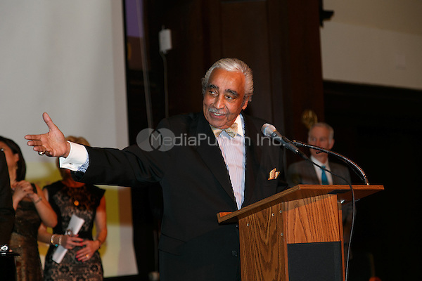 NEW YORK, NY - APRIL 3: Charles B. Rangel pictured as David N. Dinkins, 106th Mayor of the City of New York, receives the Dr. Phyllis Harrison-Ross Public Service Award for a lifetime of public service at the New York Society of Ethical Culture in New York City on April 3, 2014. Credit: Margot Jordan/MediaPunch