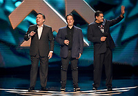LOS ANGELES - DECEMBER 6: (L-R) Chairman of SIE Worldwide Studios Shawn Layden, EVP of Gaming at Microsoft Phil Spencer and President and COO of Nintendo of America Reggie Fils-Aime appear onstage at the 2018 Game Awards at the Microsoft Theater on December 6, 2018 in Los Angeles, California. (Photo by Frank Micelotta/PictureGroup)