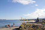 Port Townsend, local waterfront beach, at the pub, the Pourhouse, Olympic Peninsula, Washington State, Pacific Northwest, USA,