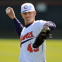 Clemson RHP Kyle Deese (43) prior to a game between the Charlotte 49ers and Clemson Tigers Feb. 22, 2009, at Doug Kingsmore Stadium in Clemson, S.C. (Photo by: Tom Priddy/Four Seam Images)
