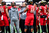 College Park, MD - OCT 27, 2018: Maryland Terrapins head coach Matt Canada during a timeout of game between Maryland and Illinois at Capital One Field at Maryland Stadium in College Park, MD. The Terrapins defeated Illinois to move to 5-3 on the season. (Photo by Phil Peters/Media Images International)