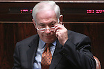 Israeli Prime Minister, Benjamin Netanyahu is seen during a discussion on Israel's budget in the Knesset (Parliament) in Jerusalem, Wednesday, June 17, 2009. Amid an opposition boycott, the Knesset approved today the first readings of the biennial budget and Economic Arrangements Bill. Photo By : Emil Salman / JINI