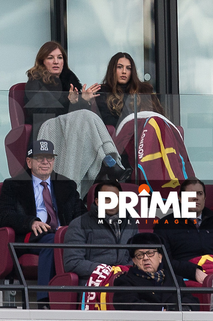 Karen Brady of West Ham watches from the stands during the Premier League match between West Ham United and Chelsea at the Olympic Park, London, England on 9 December 2017. Photo by Andy Rowland.
