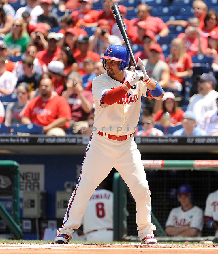 SHANE VICTORINO, of the Philadelphia Phillies, in action during the Phillies game against the Florida Marlins on June 15, 2011 at  Citizens Bank Park in Philadelphia, Pennsylvania. The Phillies beat the Marlins 8-1.