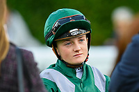 Jockey Hollie Doyle in the parade ring during Afternoon Racing at Salisbury Racecourse on 4th October 2017