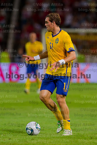 Sweden's Johan Elmander has the ball during the UEFA EURO 2012 Group E qualifier Hungary playing against Sweden in Budapest, Hungary on September 02, 2011. ATTILA VOLGYI
