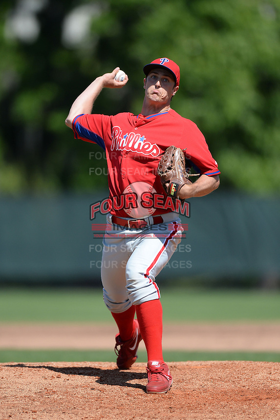 Philadelphia Phillies pitcher Chris Nichols (38) during a minor league spring training game against the Pittsburgh Pirates on March 18, 2014 at the Carpenter Complex in Clearwater, Florida.  (Mike Janes/Four Seam Images)