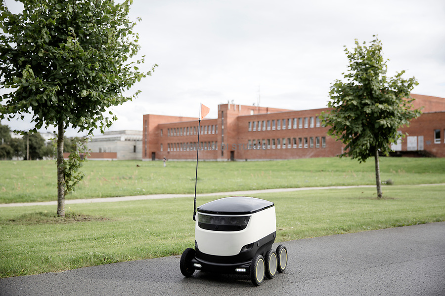 The delivery robot of Starhsip.<br />Starship Technologies was launched in 2014 by Ahti Heinla and Janus Friis.<br /><br />Estonia is arguably the most advanced country in the world when it comes to use of the Internet and related technologies. Estonia is a most improbable success, in that a mere quarter of a century ago it was still under domination of the Soviet Union as a very poor backwater on the Baltic Sea. Now it is a developed country and a member of both the EU and NATO. In late 2014, Estonia became the first country in the world to offer digital residency to non-Estonians living anywhere in the world. Non-residents can obtain an Estonian smart ID card which enables them to have access to many electronic services available to Estonian citizens, including the ability to create and operate an Estonian company. <br /> @Giulio Di Sturco