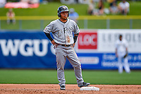 Alexi Amarista (3) of the El Paso Chihuahuas stands at second base during the game against the Salt Lake Bees in Pacific Coast League action at Smith's Ballpark on July 10, 2016 in Salt Lake City, Utah. El Paso defeated Salt Lake 11-2. (Stephen Smith/Four Seam Images)