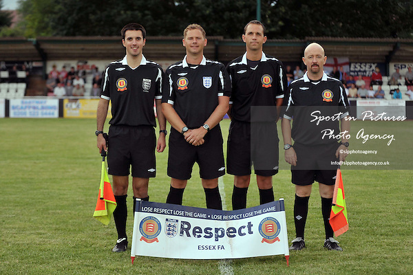The 4 match officials line up. AFC Hornchurch Vs Colchester United. Essex Senior Cup Final. The Stadium. Bridge Ave. Essex. 03/08/2010. Credit Sportinpictures/Garry Bowden