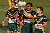 Corey Stanley, Kene Te-Whata and Mitch Williams of the Wyong Roos look at the bench during the first trail game of the 2013 NSW Cup season against the North Sydney Bears at Morrie Breen Oval on February 9, 2013 in Wyong, Australia. (Photo by Paul Barkley/LookPro)