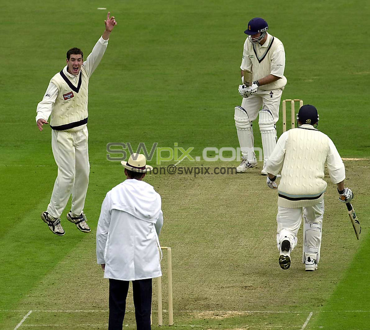 Pix:Ben Duffy/SWpix...Yorkshire v Derbyshire-Benson & Hedges Cup....30/04/2001..COPYRIGHT PICTURE>>SIMON WILKINSON..Yorkshire's Tom Baker celebrates taking the wicket LBW of Derbyshire's Luke Sutton