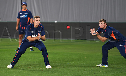 20th March 2018, Eden Park, Auckland, New Zealand;  Tim Southee and Tom Latham.<br />