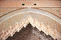 Berber Muqarnas Arabesque stalactite plaster work on the ceiling of the inner courtyard of  the Kashah of Telouet, Morocco