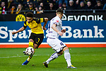 09.02.2019, Signal Iduna Park, Dortmund, GER, 1.FBL, Borussia Dortmund vs TSG 1899 Hoffenheim, DFL REGULATIONS PROHIBIT ANY USE OF PHOTOGRAPHS AS IMAGE SEQUENCES AND/OR QUASI-VIDEO<br /> <br /> im Bild | picture shows:<br /> Jadon Sancho (Borussia Dortmund #7) setzt sich gegen Ermin Bicakcic (Hoffenheim #4) durch und schließt ab, <br /> <br /> Foto © nordphoto / Rauch