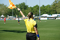 Kansas City, MO - Saturday May 13, 2017:  NWSL AR making call during a regular season National Women's Soccer League (NWSL) match between FC Kansas City and the Portland Thorns FC at Children's Mercy Victory Field.