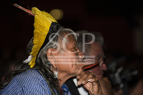 Paris, December 2015. United Nations Climate Change Conference - COP 21. United Nations Development Programme (UNDP) Equator Prize ceremony at the Theatre Mogador. Chief Raoni Metuktire watches the proceedings