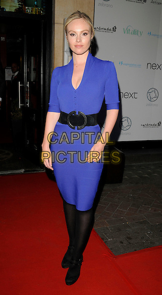 MICHELLE DEWBERRY .at Jackie Brambles leaving party, Zebrano bar, Ganton Street, London, England 3rd August 2009.full length blue dress black waist belt tights shoes double strap mary janes .CAP/CAN.©Can Nguyen/Capital Pictures