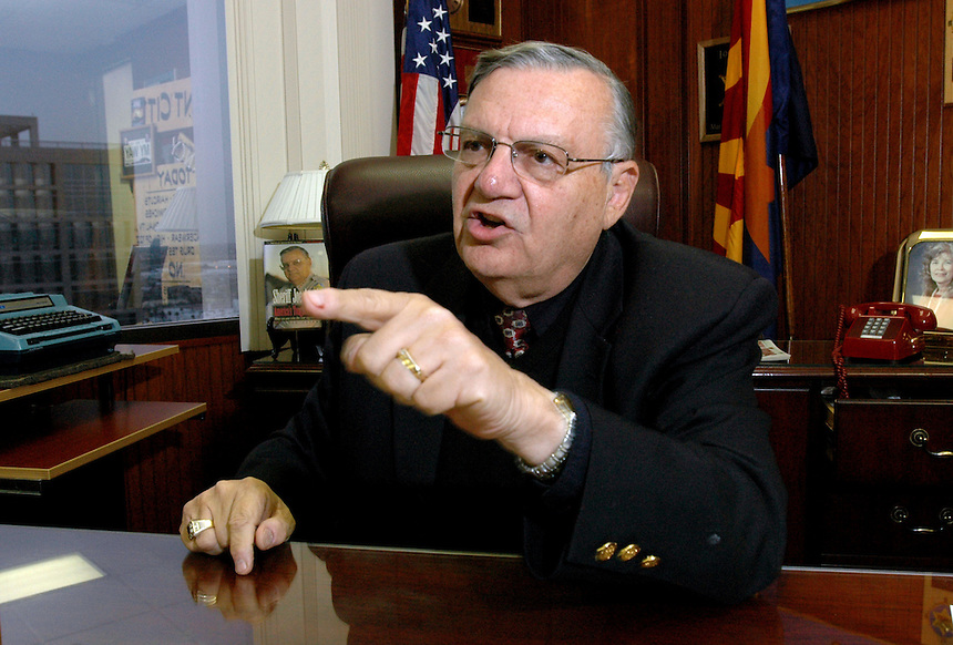 Maricopa County Sheriff Joe Arpaio at his office inside the Wells Fargo Bank, in Phoenix, AZ.  Photo by AJ Alexander.#061228a-010