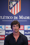Atletico de Madrid's new football signing Montenegrin Stefan Savic attends a press conference during his presentation at Vicente Calderon stadium in Madrid, Spain. July 27, 2015. (ALTERPHOTOS/Victor Blanco)