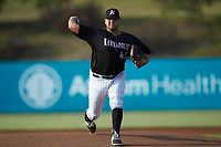 Kannapolis Intimidators starting pitcher Jhoan Quijada (45) in action against the Lakewood BlueClaws at Kannapolis Intimidators Stadium on July 7, 2018 in Kannapolis, North Carolina. The Intimidators defeated the BlueClaws 4-3 in 10 innings.  (Brian Westerholt/Four Seam Images)
