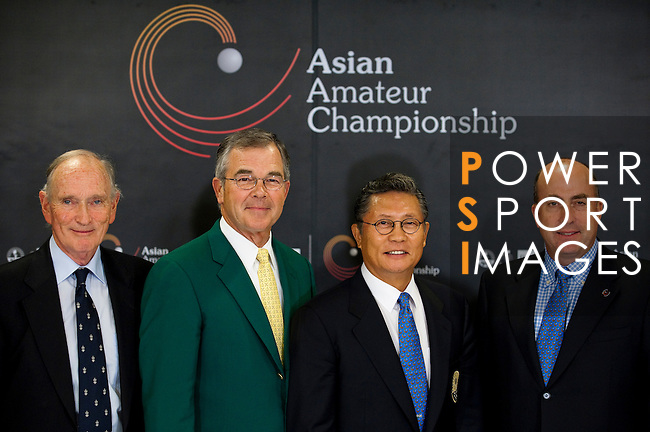 SHENZHEN, CHINA - OCTOBER 28: (L-R) Allan Gormly Chairman of R&A, Billy Payne Chairman of Augusta National Golf Club and the Master Tournament, Kwang-soo Hur President of the Asia-Pacific Golf Confederation and Dominic Wall Tournament Director of Asian Amateur Championship pose for the media after a news conference ahead the Asian Amateur Championship at the Mission Hills Golf Club on October 28, 2009 in Shenzhen, Guangdong, China. The inaugural Asian Amateur Championship will be held from 29 October to 1 November. (Photo by Victor Fraile/The Power of Sport Images) *** Local Caption *** Allan Gormly; Billy Payne; Kwang-soo Hur; Dominic Wall