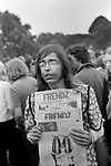 Friendz Friends underground newspaper part of the alternative society Underground Press being sold at the Nationwide Festival of Light, Hyde Park London 1971. 1970s