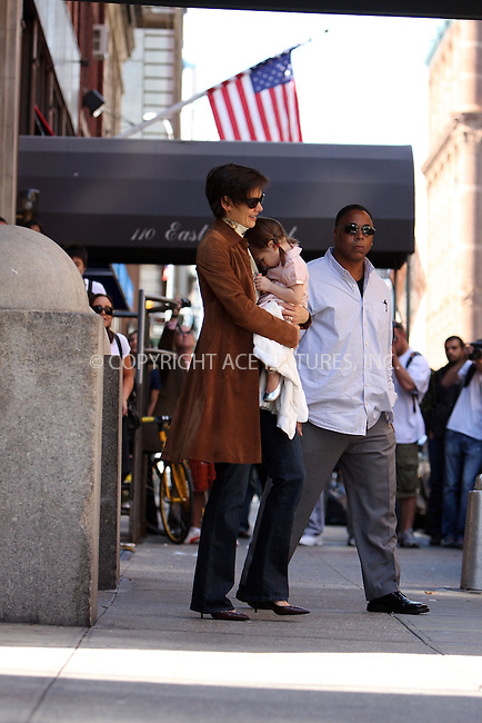 WWW.ACEPIXS.COM ** ** ** ....September 18 2008, New York City....Actress Katie Holmes sets off from her Greenwich Village home with daughter Suri Cruise on the way to the first review performance of 'All My Sons' at the Gerald Schoenfeld Theatre on September 18 2008 in New York City.....Please byline: STAN ROSE -- ACEPIXS.COM.. *** ***  ..Ace Pictures, Inc:  ..tel: (646) 769 0430..e-mail: info@acepixs.com..web: http://www.acepixs.com