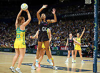 14.10.2017 Silver Ferns Temalisi Fakahokotau in action during the Constellation Cup netball match between the Silver Ferns and Australia at QudosBank Arena in Sydney. Mandatory Photo Credit ©Michael Bradley.
