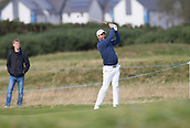 6th October 2017, Carnoustie Golf Links, Carnoustie, Scotland; Alfred Dunhill Links Championship, second round; Ireland's Padraig Harrington hits a shot from the fairway on the fifth hole during the second round at the Alfred Dunhill Links Championship on the Championship Links, Carnoustie