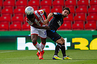 27th June 2020; Bet365 Stadium, Stoke, Staffordshire, England; English Championship Football, Stoke City versus Middlesbrough; Bruno Martins Indi of Stoke City heads the ball away from danger