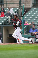 Rochester Red Wings designated hitter Byron Buxton (53) singles in the bottom of the 8th against the Scranton Wilkes-Barre Railriders on May 1, 2016 at Frontier Field in Rochester, New York. Red Wings won 1-0.  (Christopher Cecere/Four Seam Images)