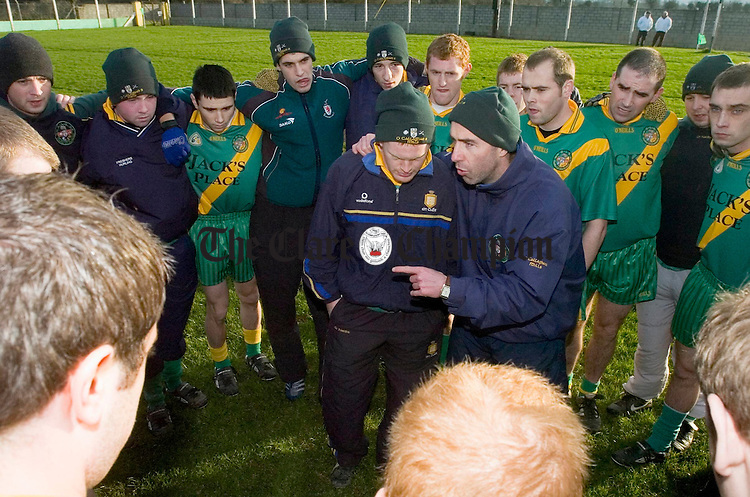 Coach Ger Keane rallies the troops before their Junior Munster final battle with Canovee at Askeaton. Photograph by John Kelly.