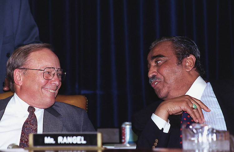 6/11/97.HOUSE WAYS AND MEANS:House Ways and Means Committee Chairman Bill Archer R-Texas talks with ranking member Charles B. Rangel D-N.Y.. before panel's tax markup session..CONGRESSIONAL QUARTERLY PHOTO BY DOUGLAS GRAHAM