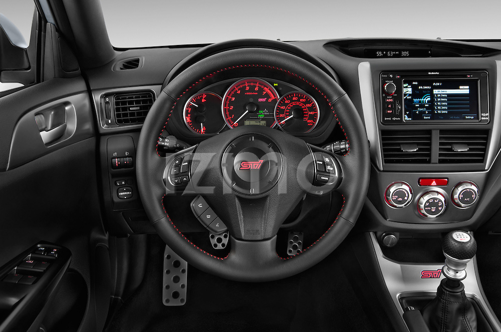 Steering wheel view of a 2013 Subaru WRX STI Sedan2013 Subaru WRX STI Sedan
