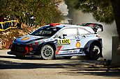 6th October 2017, Costa Daurada, Salou, Spain; FIA World Rally Championship, RallyRACC Catalunya, Spanish Rally; Daniel Sordo and his co-driver Marc Marti of Spain compete in their Hyundai Motorsport I20 Coupe WRC during the Terra Alta Stage