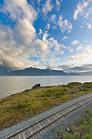 Railroad tracks along the Turnagain Arm, southcentral, Alaska.