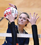 Althoff player Grace Strieker slams the ball over. Althoff lost to Minooka in the championship game of the O'Fallon Class 4A volleyball sectional at O'Fallon HS in O'Fallon, IL on November 6, 2019.<br /> Tim Vizer/Special to STLhighschoolsports.com