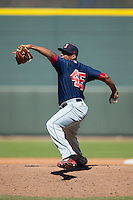 Salem Red Sox relief pitcher Mario Alcantara (45) in action against the Winston-Salem Dash at BB&T Ballpark on April 17, 2016 in Winston-Salem, North Carolina.  The Red Sox defeated the Dash 3-1.  (Brian Westerholt/Four Seam Images)