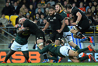 Kieran Read is tackled during the Rugby Championship rugby union match between the New Zealand All Blacks and South Africa Springboks at Westpac Stadium in Wellington, New Zealand on Saturday, 27 July 2019. Photo: Dave Lintott / lintottphoto.co.nz