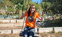 Gillian Harger '14 at Solano Canyon Community Garden in Los Angeles.<br />