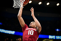 NWA Democrat-Gazette/CHARLIE KAIJO Arkansas Razorbacks forward Daniel Gafford (10) shoots a layup during the Southeastern Conference Men's Basketball Tournament semifinals, Saturday, March 10, 2018 at Scottrade Center in St. Louis, Mo. The Tennessee Volunteers knocked off the Arkansas Razorbacks 84-66