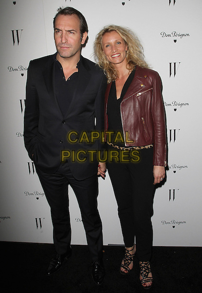 Jean Dujardin and Alexandra Lamy.W Magazine's 69th Annual Golden Globe Awards Celebration held at The Chateau Marmont, West Hollywood, California, USA, 13th January 2012..full length black suit red brown leather jacket .CAP/ADM/KB.©Kevan Brooks/AdMedia/Capital Pictures.