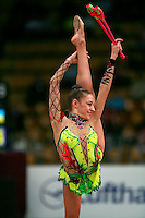 "Evgenia Kanaeva of Russia balances with clubs at 2008 World Cup Kiev, ""Deriugina Cup"" in Kiev, Ukraine on March 22, 2008."