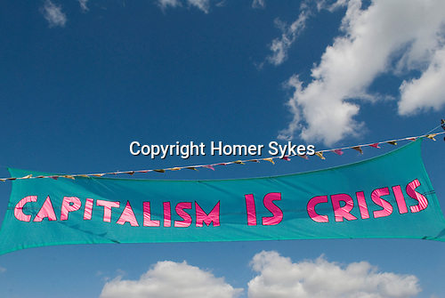 Climate Camp Blackheath south London UK. Capitalism IS Crisis banner.