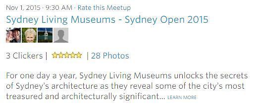 Meetup Photowalk - For one day a year, Sydney Living Museums unlocks the secrets of Sydney&rsquo;s architecture as they reveal some of the city&rsquo;s most treasured and architecturally significant... LEARN MORE<br />