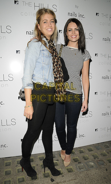 GUEST & SUSIE AMY.The Hills Collection launch party, Nails Inc. shop, South Molton St., London, England..September 16th, 2009.full length jeans denim skinny black white striped stripes t-shirt top jacket jean beige shoes scarf tights.CAP/CAN.©Can Nguyen/Capital Pictures.